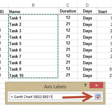 Create project plan in ms excel with a gantt chart in under 10 this will add the task names to the graph however for a gantt chart the graph is upside down so the next stage is to reverse the order of the tasks ccuart Image collections